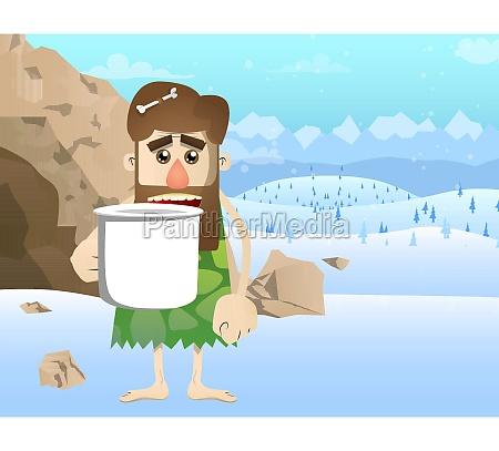 prehistoric man holding big mug