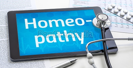 the word homeopathy on the display