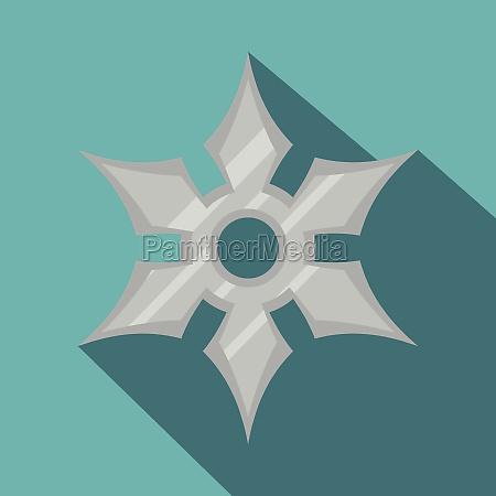 shuriken weapon icon flat style