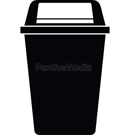 plastic flip lid bin icon simple