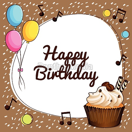 happy birthday theme with cupcake and