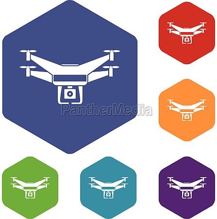 drone video camera icons set