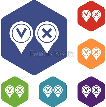 tick affirmative and negative icons set