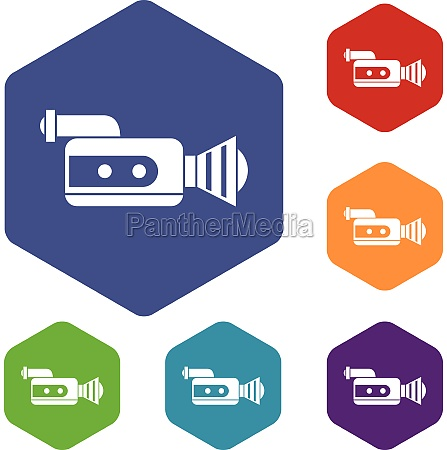 retro camera icons set