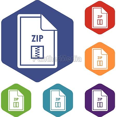 file zip icons set