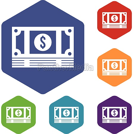 stack of money icons set