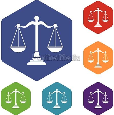balance scale icons set