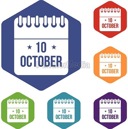 10 october calendar icons set