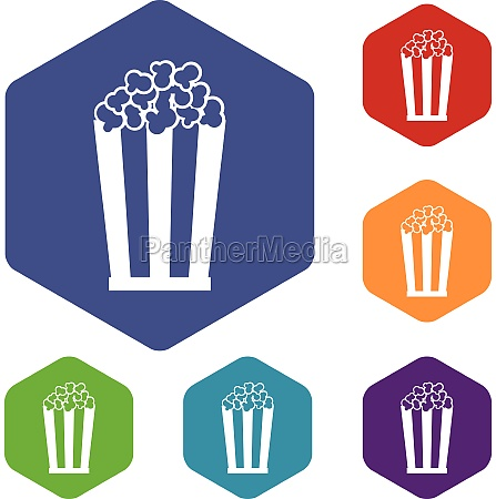 popcorn in striped bucket icons set