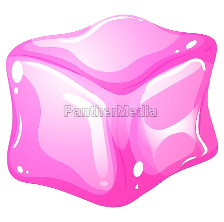pink ice cube on white
