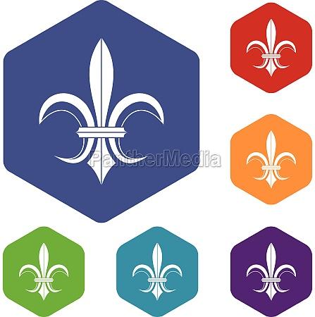lily heraldic emblem icons set