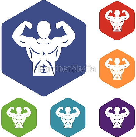 athletic man torso icons set