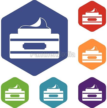 cream container icons set