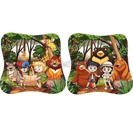 children and wild animals in jungle
