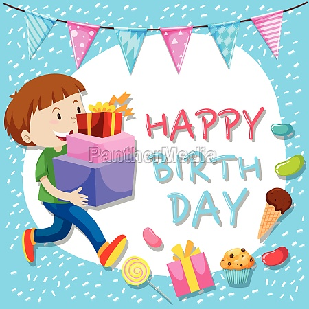 birthday card template with boy and