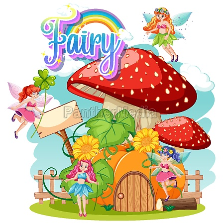 fairy logo with little fairies on
