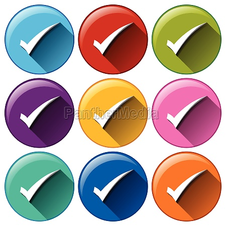 rounded buttons with check marks