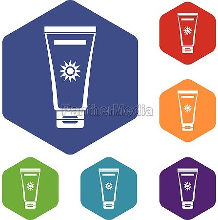 cream sun protection icons set