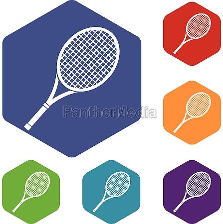 tennis racket icons set