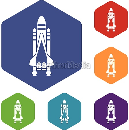 space shuttle icons set