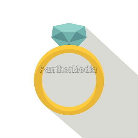 gold ring with diamond icon flat