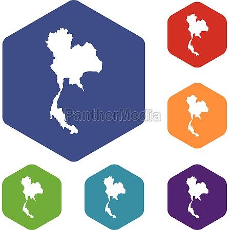 thailand map icons set