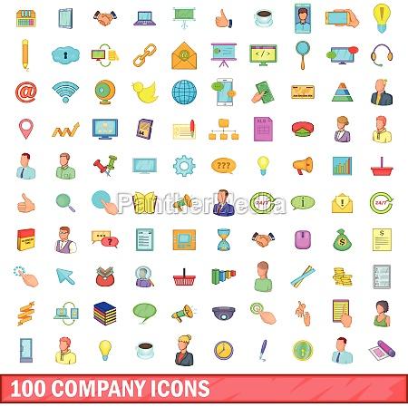 100 company icons set cartoon style