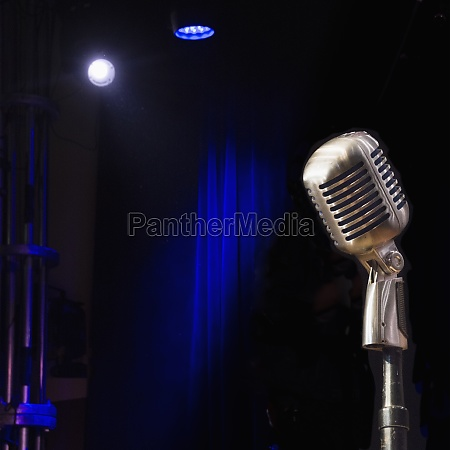 old fashioned microphone on empty stage