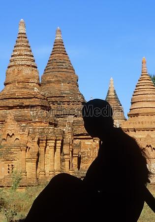 myanmar bagan mandalay division silhouette of