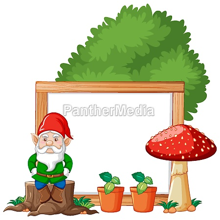 gnome sitting on stump and mushroom