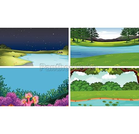 set of different water scenes