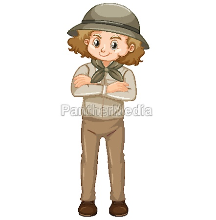 girl in safari outfit on white