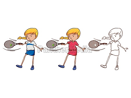 female tennis player in three different