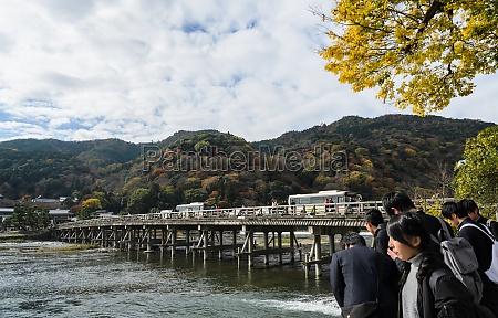 togetsukyou bridge during autumn season in