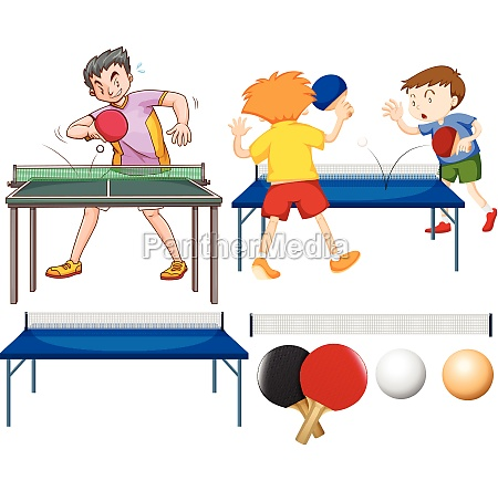 table tennis set with players and