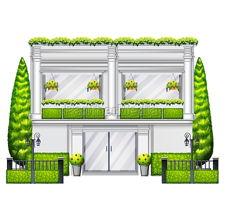a commercial building with plants