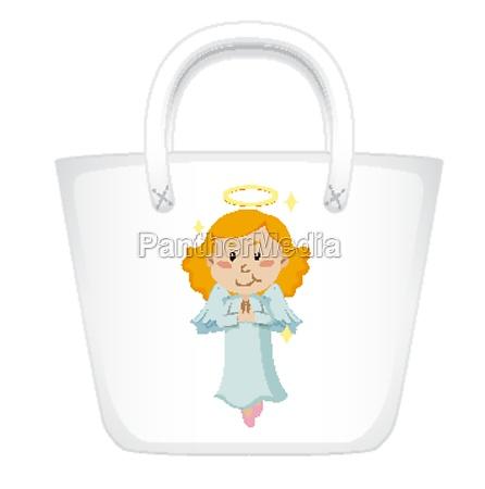 handbag design with angel graphic in