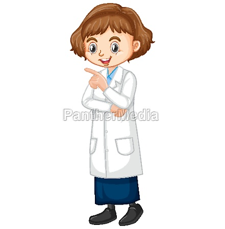 girl in science gown standing on