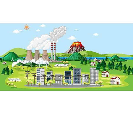 scene with factories and buildings in