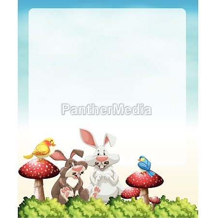 border design with rabbits and mushrooms