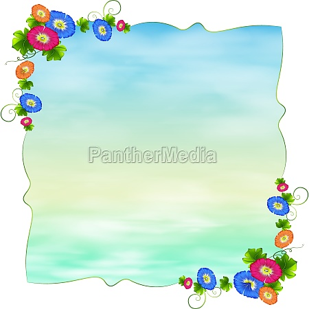 an empty template with blooming flowers
