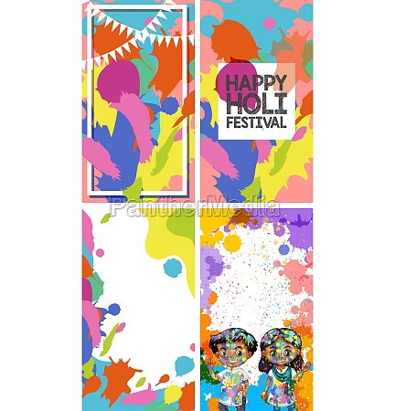 four background design with happy holi
