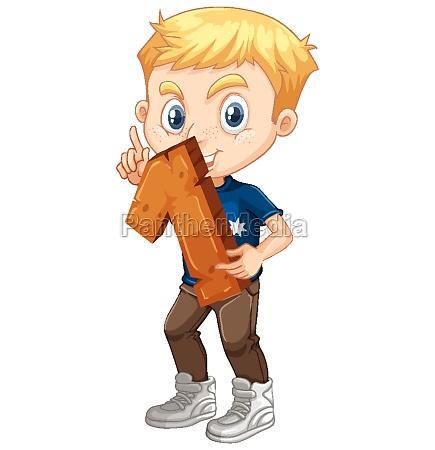 blonde boy holding math number one