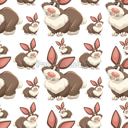 seamless background design with brown rabbits