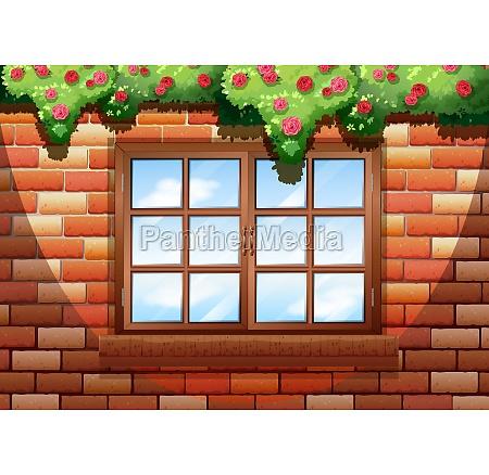 sqaure window on brick wall