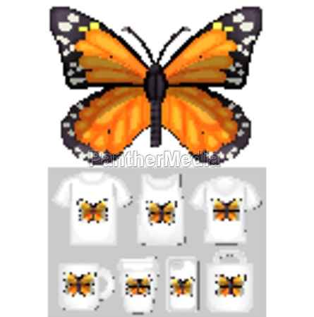graphic of monarch butterfly on different