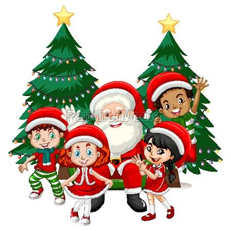 santa claus with children wear christmas
