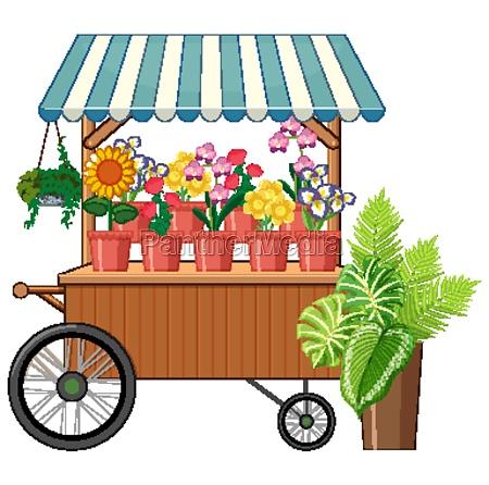 flower cart shop cartoon style isolated