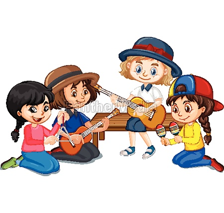 group of girls playing different instruments