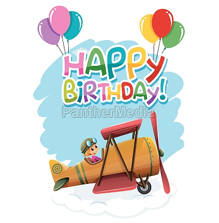 birthday with vintage plane template